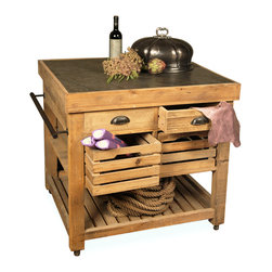 Kathy Kuo Home - Belaney Rustic Lodge Pine Wood Stone Small Kitchen Island - This rustic pine kitchen island gives you mobile storage and workspace. A blue stone top is perfect for prepping meals. Two drawers, two wooden crates and a slated lower shelf offer storage for your country kitchen needs.