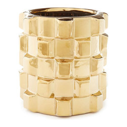 Gold Cubed Vase - In a golden hue with a textured-cube pattern, this pretty ceramic vase is a lovely foil for delicate blooms and shines on its own.