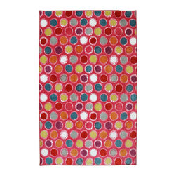 American Rug Craftsmen - American Rug Craftsmen Crib 2 College Kids Dots Hot Pink Rug (5' x 8') - The Crib 2 College collection offers great designs and color combinations that match most any bedding or trendy paint colors.  This collection delivers options catered to creating a unique space that can grow with your child.