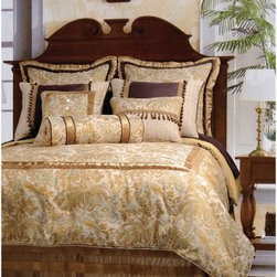 Jennifer Taylor St. Lucia Comforter/Duvet Set - Inspired by the British West Indies, the Jennifer Taylor St. Lucia Comforter/Duvet Set brings tropical luxury home. Colors of cream, subtly metallic gold, and touches of dark brown complete the look. This complete bedding set is available in a variety of size options, each with coordinating pillow shams finished with wood beading, velvety fabrics, and lavish trims.Additional Details10-piece set: 1 comforter/duvet: 110 x 96 inches1 bed skirt: 78 x 80 inches (18-inch depth)3 Euro shams: 26 x 26 inches2 kings shams: 21 x 37 inches3 décor pillows9-piece set: 1 comforter: 93 x 96 inches1 bed skirt: 60 x 80 inches (18-inch depth)2 Euro shams: 26 x 26 inches2 standard shams: 20 x 27 inches3 décor shams4-piece set: 1 comforter: 104 x 96 inches1 bed skirt: 60 x 80 inches (18-inch depth)2 king shams: 21 x 37 inchesAbout ACG Green Group, Inc.ACG Green Group is a home furnishing company based in Irvine, California and is a proud industry partner with the American Society of Interior Designers. ACG Green features Jennifer Taylor and Sandy Wilson, their exclusive home décor lines. These two complete collections offer designer home furniture, bedding sets, dining linens, curtains, pillows, and more in classic silhouettes, original designs, and rich colors to complement your home and life.
