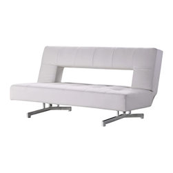 VIG Furniture - 0926 White Eco-Leather Sofa Bed - The 0926 sofa bed is a great addition for any room that needs a touch of modern design. This sofa comes upholstered in a beautiful white eco-leather. High density foam is placed within the sofa for added comfort and comfortable sleep. The back of the sofa features a open back design giving the sofa a unique look. The sofa easily transforms into a sofa sleeper perfect for up to two people. Attached to the bottom of the sofa is a polished stainless steel leg frame that adds to the overall look.