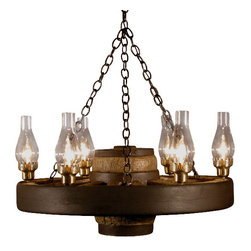 Muskoka Lifestyle Products - Small Wagon Wheel Chandelier Chimney Lights - The Wagon Wheel Reproduction Chandelier with a rustic finish is the perfect addition to any room to provide a western look with an authentic feel. The process to create the antler chandeliers uses a time proven, cast resin system to ensure perfection in every piece; we have used the same process for the wagon wheels. The wheel is a casting reproduction with hand-stained and rubbed finish to achieve the rustic antique finish and feel. Bring the perfect rustic decor to your home, cabin, or office with these chandelier reproductions. From the large majestic options to the quiet accent lights, our reproduction chandeliers are perfect for entry ways, pool tables, dining room tables, living rooms, offices, or anywhere you want to hang them to create the perfect, natural look in any room. All chandeliers are UL listed to ensure absolute safety, quality, and US building code parameters are met.