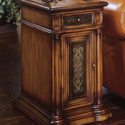 Hooker Furniture - Seven Seas Chairside Table - Ostrich-style leather top. One drawer and door with etched brass accent. Tack in floor glides. Made from hardwoods. Made in Philippines. Door: 7.35 in. W x 15.56 in. H. Overall: 13.5 in. W x 17.38 in. D x 25.38 in. H