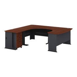 BBF - Bush Series A 4-Piece U-Shape Wood LH Computer Desk in Hansen Cherry - Bush - Computer Desks - WC94433PKG1