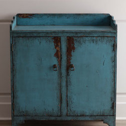 "Horchow - Blue ""Tushka"" Chest - Distinctive antique-style potting chest adds unique storage and display space wherever you place it. Made of birch. Heavily distressed finish for a vintage look. Two doors and one fixed shelf. 38""W x 18""D x 43""T. Imported. Boxed weight, approximat..."
