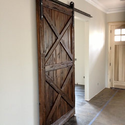 "Sliding Barn Door - Mushroom Wood Double ""X"" - Thomas Porter"