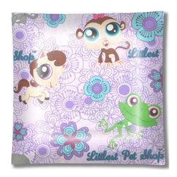 "LPS Littlest Pet Shop Purple Ceiling Light - 12"" square semi flushmount ceiling lamp with designer finish. Includes complete installation instructions and complete light fixture. Wipes clean with a damp cloth. Uses 2-60 watt bulbs (not included) and is made with eco-friendly/non-toxic products. This is not a licensed product, but is made with fully licensed products."