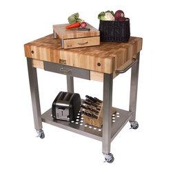 "John Boos - End-Grain Cucina Technica Cart - 4"" Thick Butcher Block Top - John Boos Cucina Technica. 4-inch-thick maple butcher block top, end-grain style. Stainless steel shelf, towel bar. Locking casters. 24x24 and 30x24."