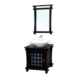 Bellaterra - 30 In Single Sink Vanity - Wood - Black - Perfect for a minimalist! Espresso finish with a contemporary Asian design,  fitted with an upraised vessel-style square sink for a distinctive look.  Solid wood construction and features antique hardware on doors to accentuate the luxury look. Vanity dimension: 29.9Wx22Dx29.7H * ** * Birch* Black* Black Marble* White Ceramic Sink* Antique brass finish hardware* Pre-drilled with 1 hole - One slot faucet, Faucet and mirror not included* Slight assembly required. Dimensions: 30 in. x 22 in.