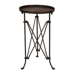 In Character Round Side Table - Fashioned of bronze-finished metal, this characteristic table belongs in a room of stylish mystery. Its insect-like legs capped by three tiny feet create a whimsical, yet artistic nature that works exceedingly well with industrial modern decor. The round tabletop also features a raised edge like a tray that helps keep collectibles safe from cats, children, and other wild creatures.