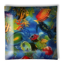 """Tropical Fish Coral Reef Ceiling Light - 12"""" square semi flushmount ceiling lamp with designer finish. Includes complete installation instructions and complete light fixture. Wipes clean with a damp cloth. Uses 2-60 watt bulbs (not included) and is made with eco-friendly/non-toxic products. This is not a licensed product, but is made with fully licensed products."""