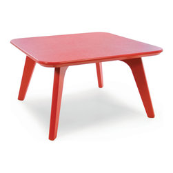Loll Designs - Satellite End Square 26 Table, Apple Red - In the context of outdoor lounging, a Loll Satellite accent table is a recycled polyethylene object placed into orbit around humans resting in Loll Furniture. Unlike the moon, the Loll Satellite Table actually rotates in conjunction with the Earth and her inhabitants, at just over 1,000 miles per hour, but appears to be sitting still. We think it's time for you to have your very own Satellite... perfect for star gazing on black nights with warm breezes and cold drinks. All Loll Satellite Tables are made with heavy duty 1 inch thick poly and available in an assortment of colors, shapes and sizes.