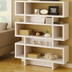 Hokku Designs - Celio Three-Tier Bookcase/Display Cabinet, Matte White - I love the lines on this display shelf. It would be really fun to have next to or behind your desk.