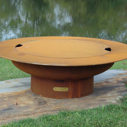 Fire Pit Art - Fire Pit Art - Saturn Carbon Steel Fire Pit w. Lid (FPA-SAT/LID) - The Saturn Fire Pit reminds us of its name sake planet Saturn with the spectacular ring feature in the night sky.