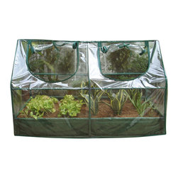 Zenport - Garden Cold Frame with Raised Bed 120x60x(60+14)cm - Zenport SH3212A+BTP Garden Raised Bed and Cold Frame Greenhouse Cloche for Easy Access Protected Gardening. Size: 47-Inches (120CM) X 24-Inches (60CM) X 24-Inches (60CM) Takes up very little space, but gives your plants a great early start! This Kit includes both the Greenhouse and the Raised Garden Bed. Offers an economical means of seed propagation, plant growing and display. Suited to scheltered positions suchas patios and balconies. Manufactured from waterproof transparent cover, creating the optimal growing conditions. Create warmth and insulation, whilst allowing air, moisture, and sunlight to filter through. Roll-up zipped panel for easy access, adjustable ventilation and humidity control. Sturdy tubular steel frames with green painted finish.