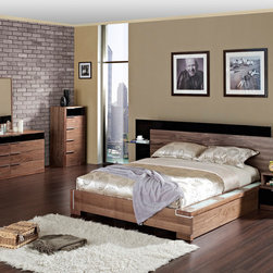 Elegant Wood Elite Modern Bedroom Sets with Extra Storage - Santa monica contemporary walnut finish bedroom set with storage. The Santa Monica Bedroom Set is an ultra modern set and includes: Queen size platform bed with regal, exquisite and reminiscent of old testament