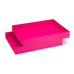Pink Letter Trays, Set of 2 - I simply love this color; it makes me happy.