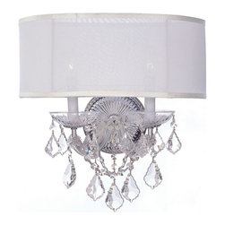 Crystorama - Crystorama-4482-Brentwood - Two Light Wall Sconce - Clear Hand Cut Crystal