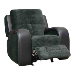 Homelegance - Homelegance Flatbush Glider Reclining Chair in Plush Microfiber and Black Vinyl - Plush seating serves to soften the contemporary lines of the Flatbush collection. The dual reclining sofa and love seat coordinate perfectly with a matching glider chair - each reclining with a pull of the manual tab. Fashionable plush microfiber features contrasting black bi-cast vinyl track arms for a welcoming contemporary look in your living room.