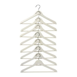 Bumerang Curved Clothes Hanger, White - Every closet needs hangers, and wooden hangers are the best! Leave those cheap wire hangers at home.