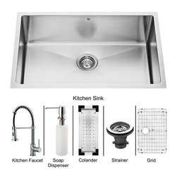 Vigo - Vigo Undermount Stainless Steel Kitchen Sink, Faucet, Colander, Grid, Strainer - Get everything you need with this complete kitchen set that will revitalize the look of your kitchen.