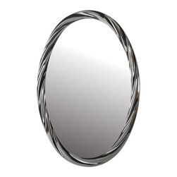 "Lamps Plus - Contemporary Peronell 30"" High Plated Gun Metal Oval Wall Mirror - This beautiful wall mirror features an oval shape design with an eye-catching rippled frame. A plated gun metal finish gives off a brilliant shine to match the reflection of the beveled mirror glass. Place above a vanity to freshen up a bathroom or in an entryway to welcome guests into your home. Resin and mirror glass construction. Plated gun metal finish. Oval shape. Rippled frame. 30"" high. 20"" wide. 2 1/2"" deep. Mirror glass only is 27 1/2"" high 17 1/2"" wide.  Resin and mirror glass construction.  Plated gun metal finish.  Oval shape.  Rippled frame.  30"" high.  20"" wide.  2 1/2"" deep.  Mirror glass only is 27 1/2"" high 17 1/2"" wide."