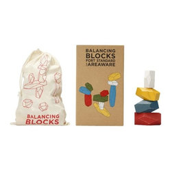 Areaware - Balancing Blocks by Areaware - Create your own multi-faceted sculpture with the Areaware Balancing Blocks by Fort Standard. These ten blocks are carved out of oak to resemble faceted stones, and are tumbled in a water-based paint for safe, colorful and long-lasting play. The cotton drawstring bag packaging provides convenient ongoing storage. Areaware reinvents the everyday object with a more eccentric and absurdist twist, driven by a fascination about forward thinking technologies and original expression. A New York-based company, Areaware is dedicated to creating not just useful design accessories, but poetic objects that inspire an emotional response.