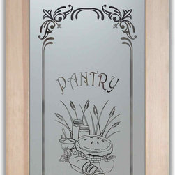 """Glass Pantry Door - Apple Pie - CUSTOMIZE YOUR GLASS PANTRY DOOR!  Pantry Doors shipping is just $99 to most states, $159 to some East coast regions, custom packed and fully insured with a 1-4 day transit time.  Available any size, as pantry door glass insert only or pre-installed in a door frame, with 8 wood types available.  ETA for pantry doors will vary from 3-8 weeks depending on glass & door type.........Block the view, but brighten the look with a beautiful obscure, decorative glass pantry door by Sans Soucie!   Select from dozens of frosted glass designs, borders and letter styles!   Sans Soucie creates their pantry door obscure glass designs thru sandblasting the glass in different ways which create not only different effects, but different levels in price.  Choose from the highest quality and largest selection of frosted glass pantry doors available anywhere!   The """"same design, done different"""" - with no limit to design, there's something for every decor, regardless of style.  Inside our fun, easy to use online Glass and Door Designer at sanssoucie.com, you'll get instant pricing on everything as YOU customize your door and the glass, just the way YOU want it, to compliment and coordinate with your decor.  When you're all finished designing, you can place your order right there online!  Glass and doors ship worldwide, custom packed in-house, fully insured via UPS Freight.   Glass is sandblast frosted or etched and pantry door designs are available in 3 effects:   Solid frost, 2D surface etched or 3D carved. Visit or site to learn more!"""