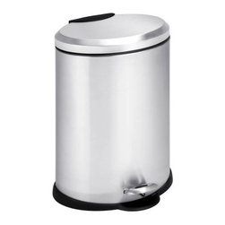 Honey Can Do Oval Stainless Steel Step 3 Gallon Trash Can - Don't dally taking out the trash - step on it with the Honey Can Do 12 Liter Oval Stainless Steel Step Can. Crafted with durable stainless steel, this round 3.2-gallon trash can boasts a steel foot pedal for easy hands-free operation, a removable inner plastic bucket for quick emptying, and a deep recessed lid that neatly hides trash bags from view. A fold-down metal handle on the lid makes for easy transportation, too.About Honey-Can-DoHeadquartered in Chicago, Honey-Can-Do is dedicated to helping you organize your life. They understand that you need storage solutions that are stylish and affordable at the same time. Honey-Can-Do focuses on current design trends and colors to create products that fit your decor tastes while simultaneously concentrating on exceptional quality. When buying a Honey-Can-Do product, you can be sure you are purchasing a piece that has met safety control standards and social compliance methods.
