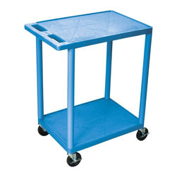 Luxor Furniture - Utility Cart w 2 Shelves in Blue - High density polyethylene structural foam molded plastic shelves. Legs that won't stain, scratch, dent or rust. Retaining lip around the back and sides of flat shelves. Push handle molded into the top shelf. Four heavy duty 4 in. casters, two with brake. Shelves are reinforced with two aluminum bars. Clearance between shelves: 26 in.. Capacity: 300 lbs.. Made from polyethylene, plastic and aluminum. Minimal assembly required. Made in USA. 24 in. L x 18 in. W x 33.5 in. H. Warranty