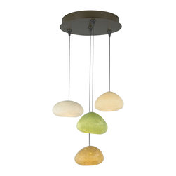 River Rock Chandelier - %The River Rock Chandelier by Tech Lighting features four rock pendants suspended from a FreeJack 4 Port Round canopy available in either an Antique Bronze or Satin Nickel finish. To appear as natural as possible, The River Rock Pendant Oblong Oval bottom is intentionally not symmetrical to the floor plane. The glass of the pendant is hand blown by Bacchus Glass Studio in Sonoma, CA. Inspired by nature, River Rock Chandelier is an attractive departure from standard chandeliers.