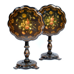 Consigned Pair of Tables Hand-Painted, Antique 19th Century - Pair of matching round hardwood black lacquered 19th-century English tilt-top tables. Each top has scalloped edges with hand-painted floral and foliage motifs. Table top supported by the turned column and scalloped round base with three feet.