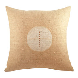 BZDesign - Warm Beige Hand Embroidered Silk Pillow - This simply elegant silk pillow will easily fit into any contemporary setting!