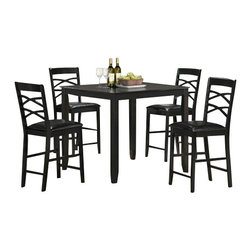 "CBLancasterPub5pc - 5-Piece Lancaster Collection Black Finish Wood Counter Height Table Set - 5-Piece Lancaster collection black finish wood counter height table set with leather like seats. This set includes the table with legs and 4 side chairs with leather like seats. Table measures 40"" x 40"" X 36"" H. Chairs measure 42"" H to the back. Some assembly required."