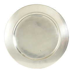 Ballard Designs - Set of 2 Heirloom Chargers - Coordinates with the rest of our Heirloom Collection. Works with any pattern or color plate. Hand wash. Adding a charger beneath a plate - even your everyday dinnerware - gives your meal an extra punch of visual flavor. Our Heirloom Charger is made of stainless steel with antique silver finish and a wide rim to beautifully frame your plate.Heirloom Charger features: . . .