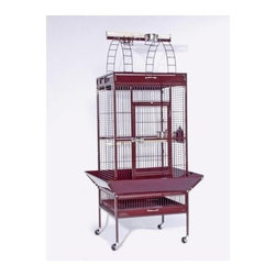 """Prevue Hendryx - Signature Series Select Wrought Iron Cage - 24x20x60 - Select Signature wrought iron cage includes top and bottom pull out drawers, and bottom pull out grille, 4 stainless steel cups, top playpen and rounded seed guards, and cage stand with easy-rolling casters. All cages have heavy duty push button door lock, and 2 wooden perches. The cages are available in 8 different powder-coated colors, 5 non-toxic powder coated hammer tone finishes: - black, chalk white and pewter, Coco, Sage & 3 non-toxic shiny, brilliant finishes: -Jade Green, Garnet Red, and Cobalt Blue. -Available in black, cobalt blue, chalk white, coco, jade green, garnet red, sage green and pewter. -Includes top and bottom pull out drawers, and bottom pull out grille, 4 stainless steel cups, top playpen and rounded seed guards, and cage stand with easy-rolling casters. -The heavy duty push-button door lock ensures your pet's safety. -Measures 24"""" L x 21.5"""" D x 60"""" H. -0.75"""" wire spacing. -90 day warranty."""