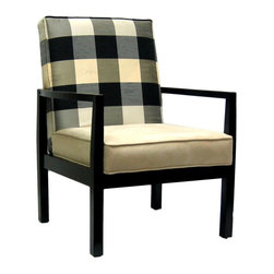 Stratford Upholstered Occasional Living Room Armchair - This is such a serious-looking chair with its bold plaid back cushion and solid seat cushion. I'd add a little kitsch to it with a heart-shaped red pillow.