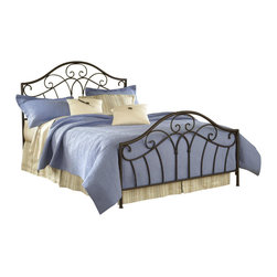 Hillsdale Furniture - Josephine Panel Bed in Metallic Brown Finish (Full) - Choose Bed Size: Full. Includes bed frame and rails. Mattress not included. Arched silhouette. Satin Beige frame. Some assembly required. Full: 78 in. L x 55 in. W x 54 in. H (62 lbs.). Queen: 85.5 in. L x 61 in. W x 54 in. H (65 lbs.). King: 85.5 in. L x 77 in. W x 54 in. H (78 lbs.)Pretty scrollwork and a beautiful arched silhouette combine in Hillsdale Furniture's Josephine bed. Metallic Brown finish and graceful lines blend this bed easily into your traditional or cottage decor. Some assembly required.