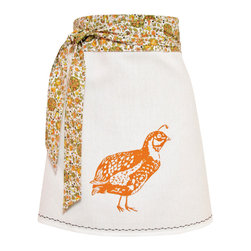 artgoodies - Organic Block Print Quail Apron - Each organic apron is hand printed with an original hand carved block print by Lisa Price. The band and ties are made of a coordinating vintage-style fabric and the embroidered accent at the bottom sets the fabric off just right! Dazzle your kitchen on any ordinary day or be the cutest hostess ever!