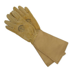 Women's Leather Gauntlet Glove - Prevent calluses and dirty fingernails with a sturdy pair of gardening gloves. I love the look of this leather pair.