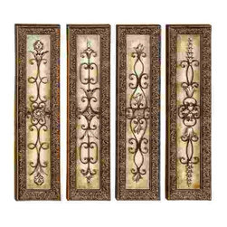 UMA - Scrolls of Elegance Wall Panels Set of 4 - Four vertical wall panels in 3-D style, each featuring a different wrought metal design with loops, fleur de lis and medallions