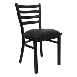 Flash Furniture - Hercules Series Black Ladder Back Metal Restaurant Chair with Black Vinyl Seat - Provide your customers with the ultimate dining experience by offering great food, service and attractive furnishings. This heavy duty commercial metal chair is ideal for Restaurants, Hotels, Bars, Lounges, and in the Home. Whether you are setting up a new facility or in need of a upgrade this attractive chair will complement any environment. This metal chair is lightweight and will make it easy to move around. For added comfort this chair is comfortably padded in vinyl upholstery. This easy to clean chair will complement any environment to fill the void in your decor.