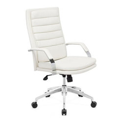 Zuo Modern - Zuo Director Comfort Office Chair in White - Director Comfort Office Chair in White by Zuo Modern This chair has a leatherette wrapped seat and back Cushion ins with chrome solid steel arms with leatherette pads. There is a height and tilt adjustment with a chrome steel rolling base. Dining Table (1)