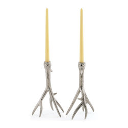 Go Home - Pair of Outback Candleholders - Perfect accessory to your home decor. Made to resemble branches, each nickel plated brass candle holder features a sturdy three-pronged base. The polished nickel finish adds the final touch of elegance that really makes this set shine.