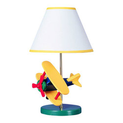 """Cal Lighting - Cal Lighting BO-372 60 Watt 15"""" Kids / Youth Wood Airplane Table Lamp with On/Of - 60 Watt 15"""" Kids / Youth Wood Airplane Table Lamp with On/Off Switch and Round Hardback Fabric Shade from the Kids CollectionSpecifications:"""