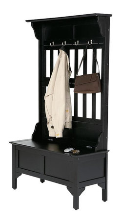 Home Styles - Home Styles Hall Tree and Storage Bench in Black - Home Styles - Hall Trees - 565049 - Accent your home entryway with the Hall Tree and Storage Bench by Home Styles! This stunning hall tree and storage bench combo features 4 hooks for hanging jackets coats and hats as well as a lift top bench which opens to reveal storage space. This lovely piece of furniture comes in a black finish. Stylish and functional this hall tree and storage bench will be a great addition to your home! Features: