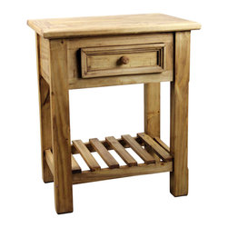 Pine Rustic End Table - Traditional rustic end table with drawer from our newest line of furniture, the Vivere line. Solid wood construction. Use for end table, nightstand, telephone stand and more.