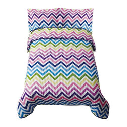 Bed Ink - ZigZag Sorbet Quilt Set Multicolor - QS8363FQ-2600 - Shop for Bedding Sets from Hayneedle.com! Fun and colorful the ZigZag Sorbet Quilt Set is a beautiful addition to any bedroom. With its 55% polyester/45% cotton blend face and 100% hypoallergenic polyester fill this bright comforter is warm comfortable and soft. Available in your choice of size this set includes a quilt and two standard shams (one for twin size). Machine washable for your convenience this beautiful set is sure to be loved for years. Comforter Dimensions Twin: 86L x 68W in. Full/Queen: 86L x 86W in.About Pem America Makers of high-quality handcrafted textiles Pem America Outlet specializes in bedding that enhances your comfort and emphasizes the importance of a good night's rest. Quilts comforters pillows and other items for the bedroom are made with care and craftsmanship by Pem America. Their products cover a wide range of materials styles colors and designs all made with long-lasting quality construction and soft long-wearing materials. Details like fine stitching embroidery and crochet decorations and reinforced seaming make Pem America bedding comfortable and just right for you and your family.