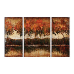 Uttermost - Uttermost Trilakes I, II, III Canvas Wall Art X-70243 - Rich, vibrant earth tone colors are featured in these hand painted landscapes. The canvases are stretched and mounted on wood stretching bars. Due to the handcrafted nature of this artwork, each piece may have subtle differences. Center-24x36x2, Sides(2)-16x36x2.