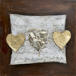 YOSEMITE HOME DECOR - Hearts of Gold Art Painted on Canvas - This piece uses metallic silver and gold to add an accent on the focal point of the painting, while keeping it relatively simplistic.  The background frames the hearts with a rich brown and pale gray.